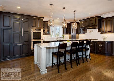 norfolk kitchen and bath greywash cherry custom kitchen with white island