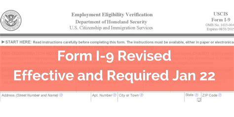 uscis revises form i 9 effective january 22 2017