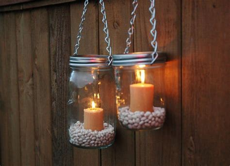 hanging mason jar luminary lantern lids home design