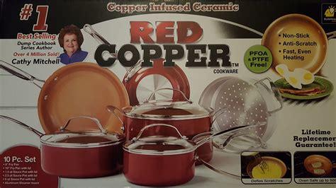 pc cookware set red copper ceramic  stick cooking pots  pans  lid ebay
