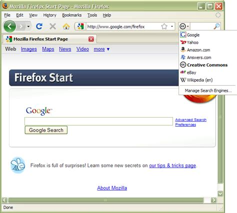 search engine organization firefox and cc search creative commons