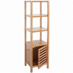 Etagere De Salle De Bain : etag re armoire meuble pour salle de bain en bambou 132x35x33cm sdb04014 d coshop26 ~ Teatrodelosmanantiales.com Idées de Décoration