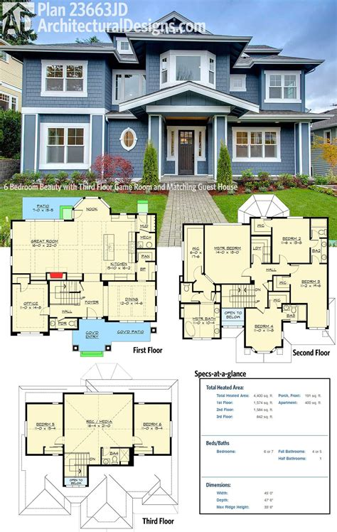 house plans with media room plan 23663jd 6 bedroom with third floor room