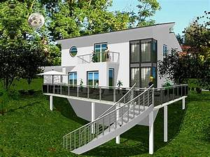 Einfamilienhaus Hanglage Planen : fertighaus designer einfamilienhaus mit abgeschr gtem ~ Lizthompson.info Haus und Dekorationen