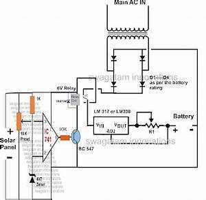 how to build a solar panel ac mains relay changeover circuit With transformer inverter charger changeover circuit electronic circuit