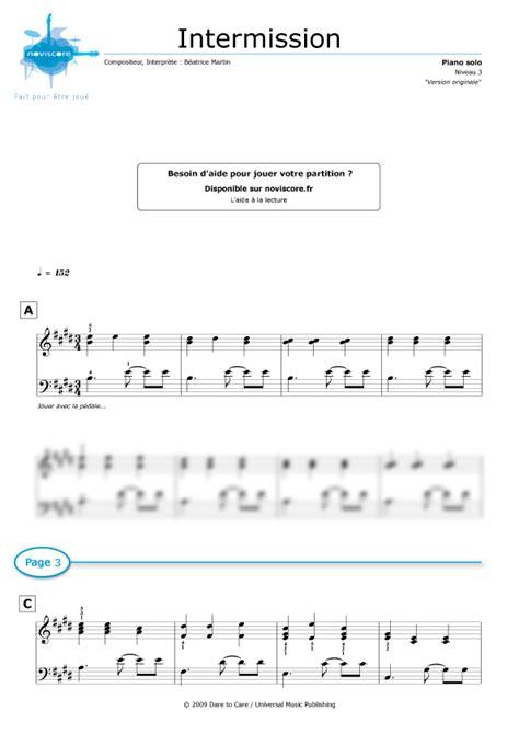 piano sheet music intermission coeur de pirate noviscore sheets