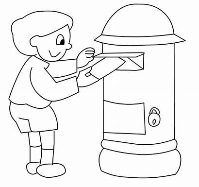 Colorir Correios Carta Caixa Colocando Dos Menina