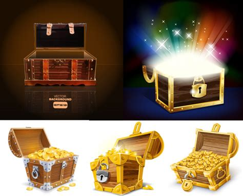 treasure box design elements vector  vector