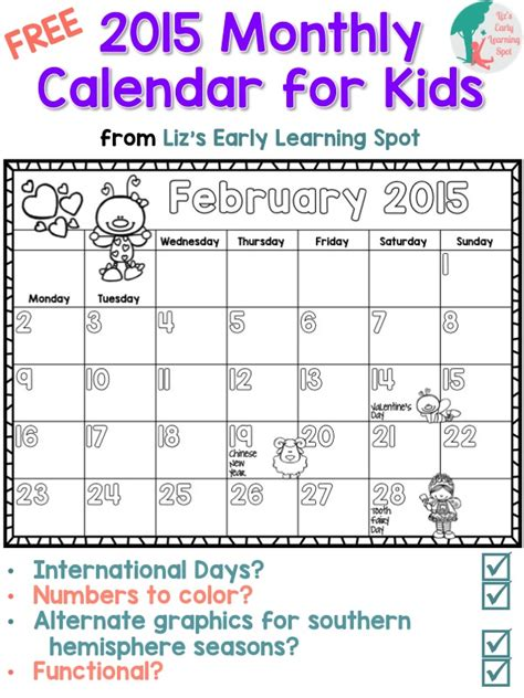 monthly calendar kids lizs early learning spot