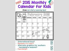 2015 Free Monthly Calendar for Kids Liz's Early Learning