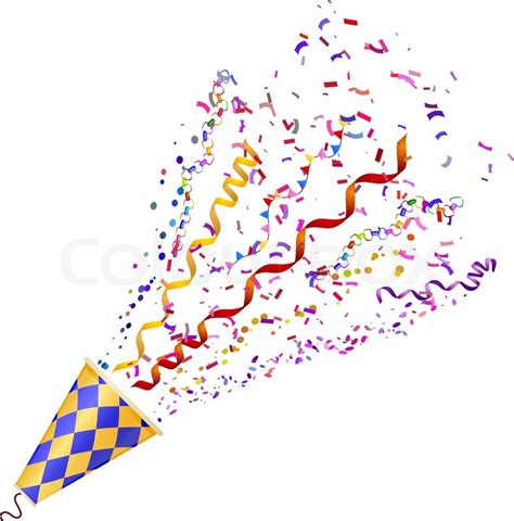 Exploding Poppers With Confetti Isolated On White
