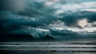 Ocean Surf Rocks Storm Clouds Background 4k