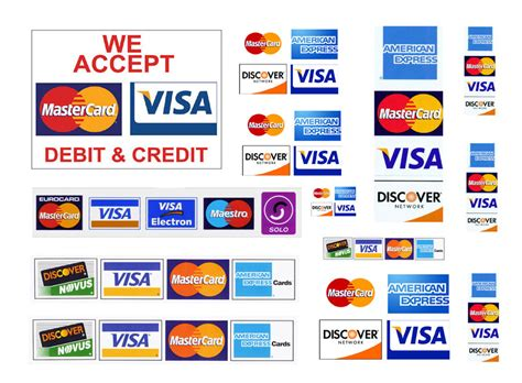 scale model credit cards accepted signs visa