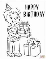 Birthday Boy Coloring Printable Cake Popular sketch template