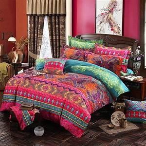 Bohemian, Bedding, Set, Luxury, 4pcs, Bed, Linens, Set, King, Queen