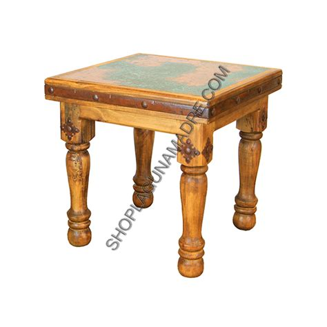 copper top end tables quot dallas quot turquoise copper top end table