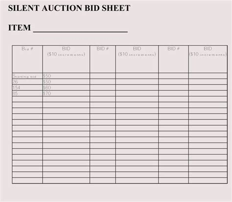 bid in bid sheet templates for silent auction in word excel