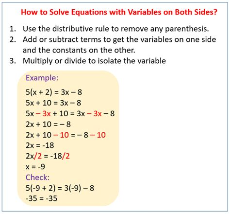 solving equations with variables on both sides solutions