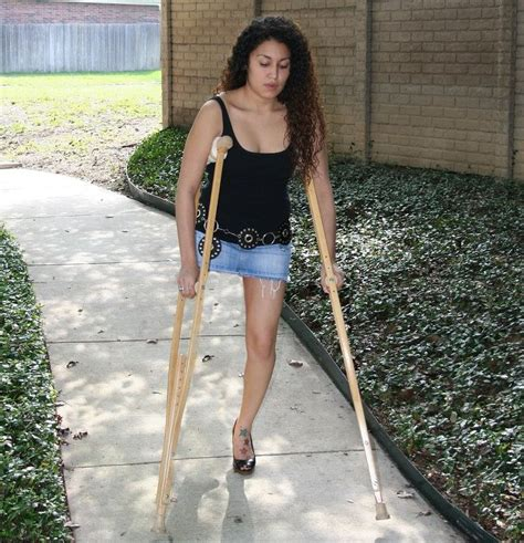 Women Amputee On Crutches Amputee Women Crutching Video