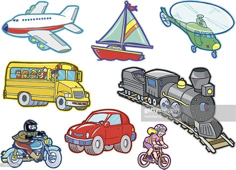 Cartoon Transportation Vehicles Vector Art