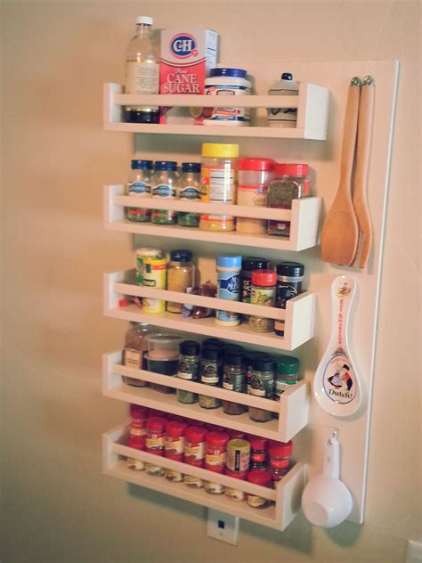 diy spice rack  tiny kitchens  storage space