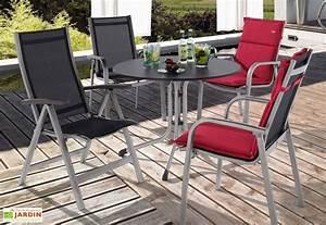 Salon Aluminium De Jardin : salon de jardin alu avec table ronde puroplan 4 chaises ~ Dailycaller-alerts.com Idées de Décoration