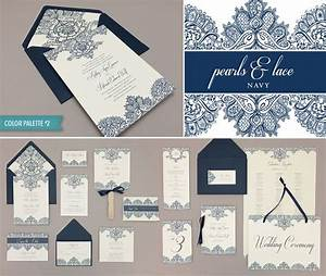 printable pearls lace navy wedding invitation suite a With very fancy wedding invitations