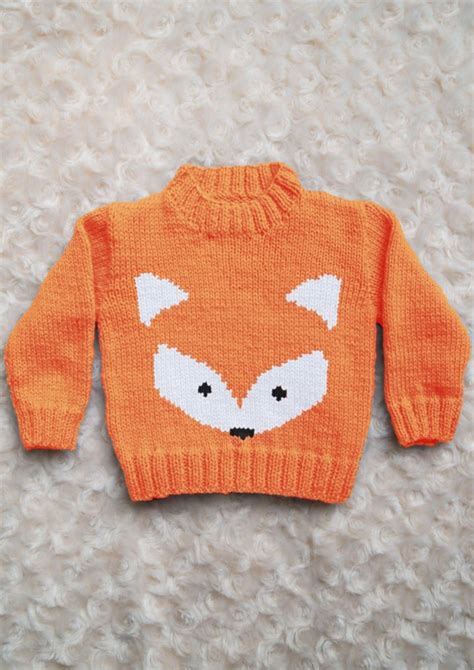 intarsia fox face chart childrens sweater knitting
