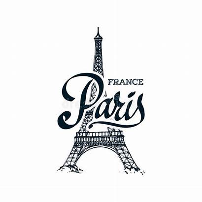Tower Eiffel Symbol Parisian Hand Drawn Illustration