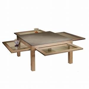 Table Basse En Beton : table basse carr e plateau b ton cir ~ Farleysfitness.com Idées de Décoration