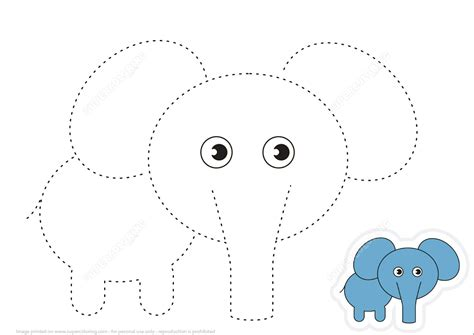 Trace Lines And Draw Cartoon Elephant  Free Printable Puzzle Games