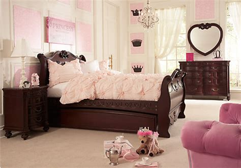 disney princess cherry 6 pc full sleigh bedroom disney