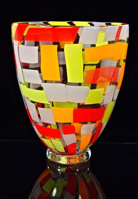 large cherry mango vase  michael egan art glass vase