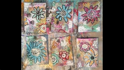 easy doodle flower artist trading cards