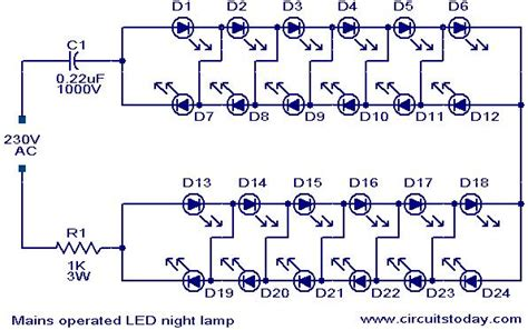 Mains Operated Led Night Lamp Electronic Circuits