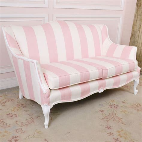 Cottage Loveseat by Shabby Cottage Chic Pink White Suede Loveseat Settee