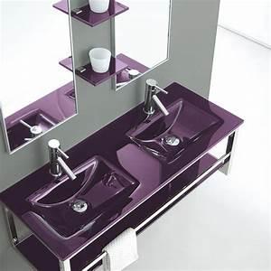 Vasque En Verre : lavabo double vasque en verre jazz ~ Melissatoandfro.com Idées de Décoration