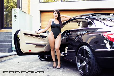 cars  girls mercedes benz  coupe meets sexy model