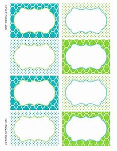 printable labels or buffet cards blue and green instant With free customizable printable labels