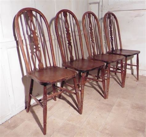 set of 4 country oak kitchen dining chairs wheel