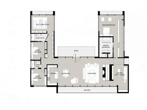 U Shaped Home Designs : U-shaped One Story House U Shaped House Plans, Garden Home