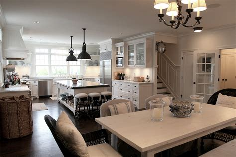white farmhouse dining table transitional dining room