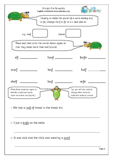 plurals of nouns ending in f or fe worksheet