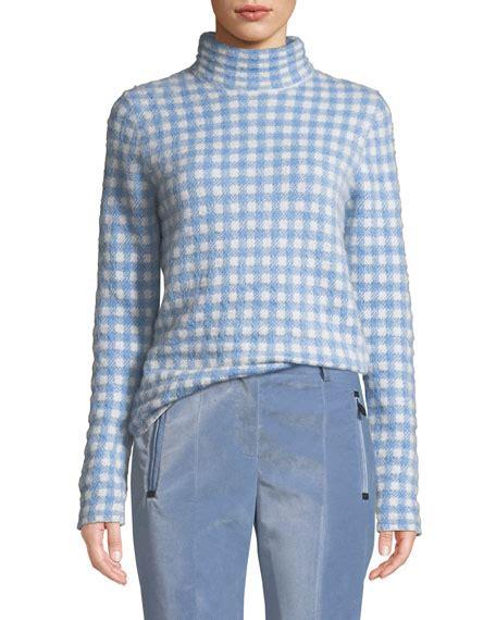 moncler grenoble gingham turtleneck sweater neiman marcus