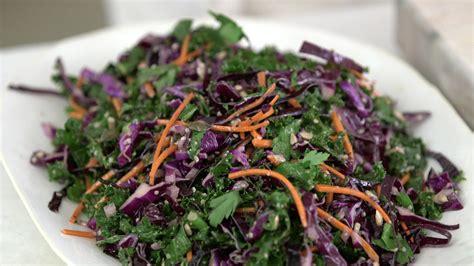 video kale red cabbage  carrots slaw martha stewart