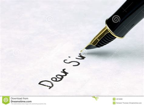 dear sir   business letter stock photo image  gold