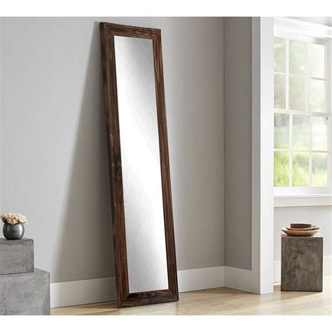 over the door mirror with lights rustic espresso full length framed mirror bm17thin the
