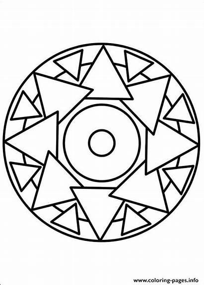 Coloring Mandala Simple Easy Pages Printable