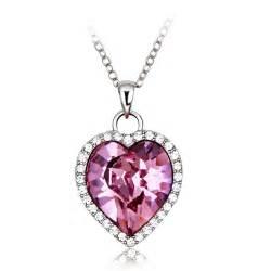 tanzanite earrings pink heart swarovski elements 18k white gold plated