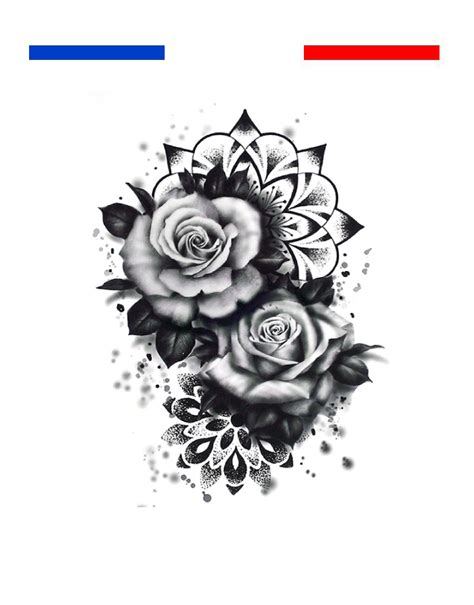 tatouage roses mandala dotwork femme epaule mon petit